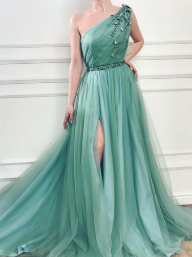 One Shoulder Prom Dresses with Deep Slit Aline Beaded Sexy Long Simple Prom Dress JKL1645|Annapromdress