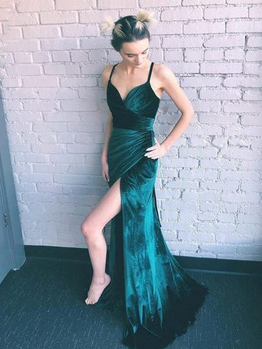 Dark Green Prom Dresses with Straps V Neck Sheath Sexy Long Deep Slit Prom Dress JKL1647|Annapromdress