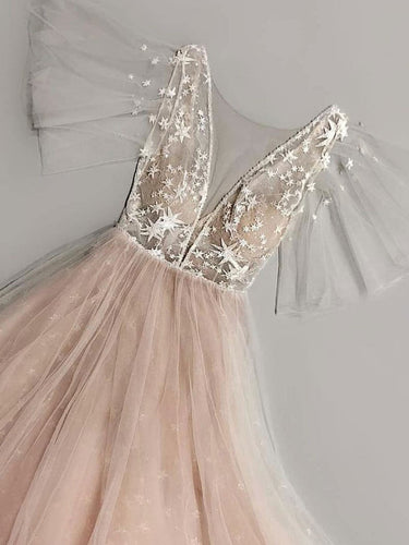 Fairy Prom Dresses Short Sleeve Aline Tulle Blush Pink Star Lace Long Prom Dress JKL1649|Annapromdress