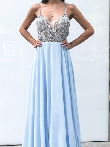 Open Back Prom Dresses with Fine Straps A Line Rhinestone Long Sky Blue Prom Dress JKL1650|Annapromdress
