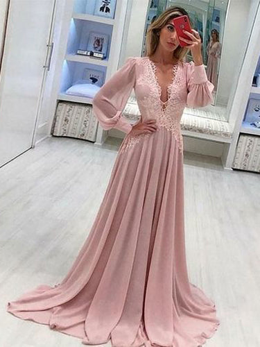 Long Sleeve Prom Dresses Deep V Neck A Line Pink Prom Dress Chiffon Long Evening Dress JKL1651|Annapromdress