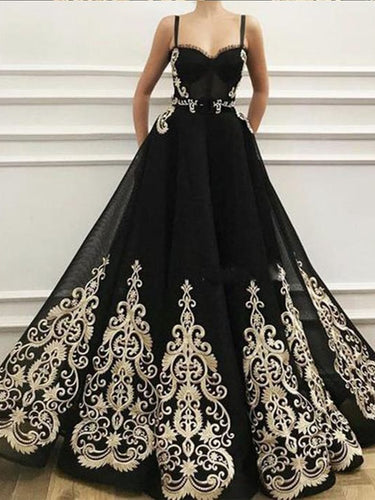 Black Prom Dresses with Straps Gold Appliques Sparkly Prom Dress A Line Evening Dress JKL1653|Annapromdress