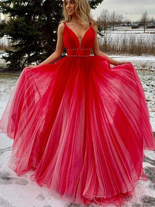 Red Prom Dresses with Straps Sweep Train A Line Ruffles Simple Long Prom Dress JKL1655|Annapromdress