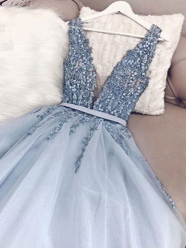 Open Back Prom Dresses V Neck Dusty Blue Beaded Prom Dress Sparkly Evening Dress JKL1657|Annapromdress