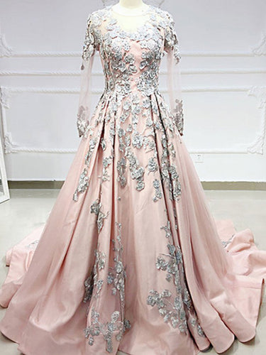 Long Sleeve Prom Dresses Sweep Train A Line Embroidery Long Satin Pink Prom Dress JKL1659|Annapromdress