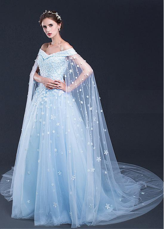 Light Sky Blue Prom Dresses Off The Shoulder Sweep Brush