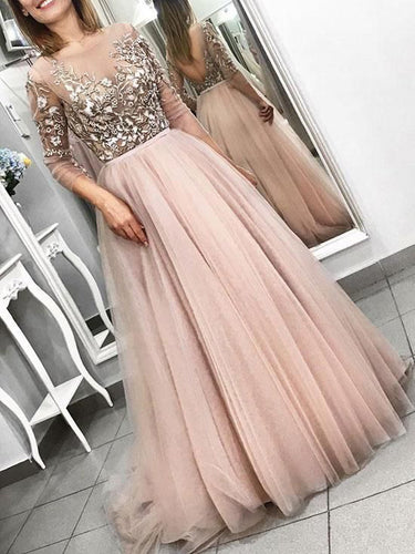 Long Sleeve Prom Dresses Embroidery Aline Long Beautiful Open Back Prom Dress JKL1661|Annapromdress