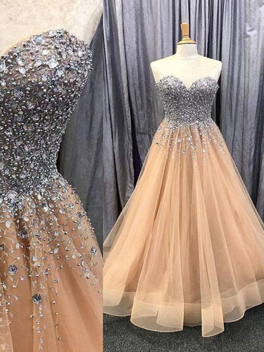 Sparkly Prom Dresses Sweetheart Aline Beaded Rhinestone Long Sexy Prom Dress JKL1662|Annapromdress