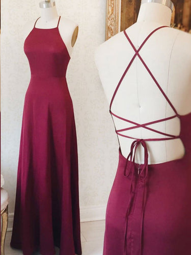 Simple Prom Dresses Spaghetti Straps Aline Open Back Burgundy Long Prom Dress JKL1664|Annapromdress