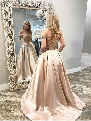 Beautiful Prom Dresses Off-the-shoulder Sweep Train A Line Long Sparkly Prom Dress JKL1665|Annapromdress