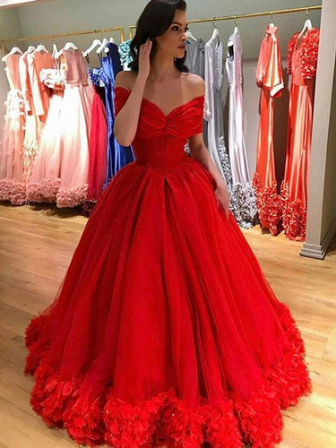Ball Gown Prom Dresses Off-the-shoulder Hand-Made Flower Long Red Prom Dress JKL1670|Annapromdress