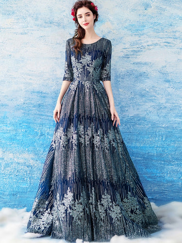 Half Sleeve Prom Dresses Scoop Dark Navy Aline Glitter Prom Dress Lace Evening Dress JKL1672|Annapromdress