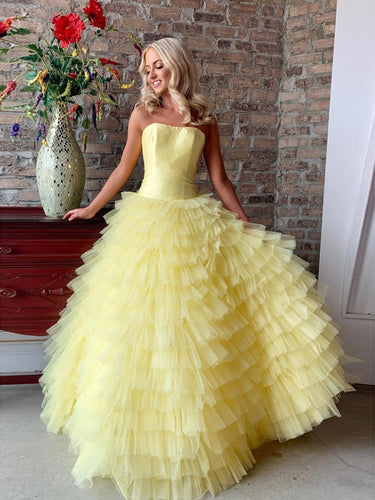 Beautiful Prom Dresses Strapless A-line Long Ruffles Yellow Cheap Prom Dress JKL1678|Annapromdress