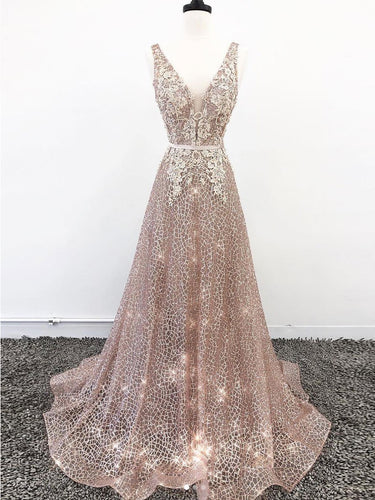 Sparkly Prom Dresses with Straps Aline Long Prom Dress Lace Evening Dress JKL1679|Annapromdress