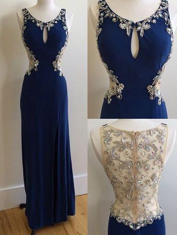 Sexy Prom Dresses Scoop Sheath/Column Royal Blue Long Prom Dress/Evening Dress JKL167