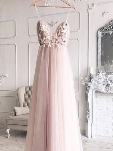 Chic Prom Dresses with Spaghetti Straps A Line Backless Prom Dress Pink Evening Dress JKL1682|Annapromdress