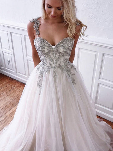 Chic Prom Dresses with Straps Sweetheart Aline Appliques Long Prom Dress JKL1684|Annapromdress