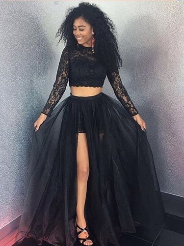 Two Piece Prom Dresses with Slit A-line Long Cheap Black Lace Long Sleeve Prom Dress JKL1685|Annapromdress