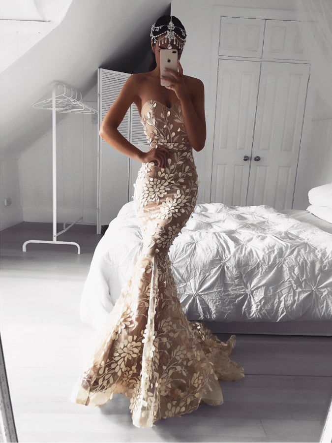 f6704880f485d Lace Prom Dresses Sweetheart Trumpet Long Chic Prom Dress Mermaid Evening  Dress JKL1686|Annapromdress