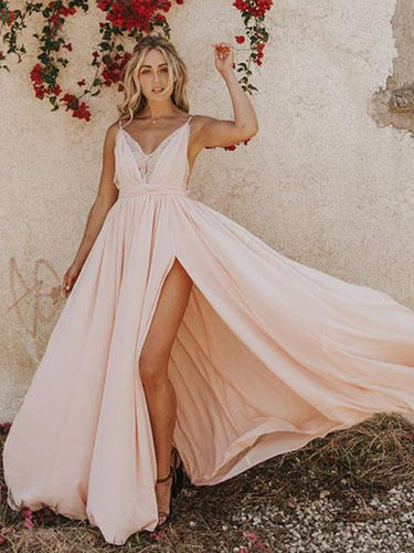 Simple Prom Dresses with Spaghetti Straps Aline V neck Open Back Pink Prom Dress JKL1690|Annapromdress