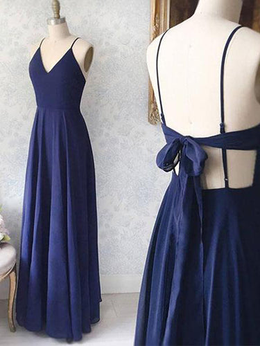 Simple Prom Dresses A-line Floor-length Dark Navy Long Open Back Cheap Prom Dress JKL1693|Annapromdress