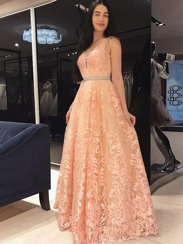Lace Prom Dresses with Straps Floor-length Coral A-line Chic Long Prom Dress JKL1695|Annapromdress