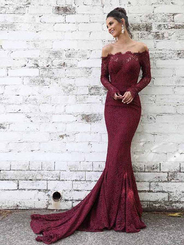 Long Sleeve Prom Dresses Off-the-shoulder Mermaid Long Burgundy Lace Prom Dress JKL1697|Annapromdress