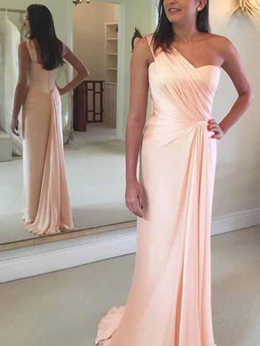 One Shoulder Prom Dresses Sheath Blushing Pink Long Cheap Simple Prom Dress JKL1698|Annapromdress