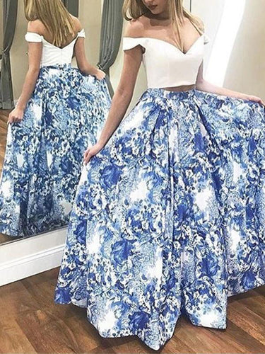 Two Piece Prom Dresses A-line Floral Print Long Open Back Satin Prom Dress JKL1699|Annapromdress