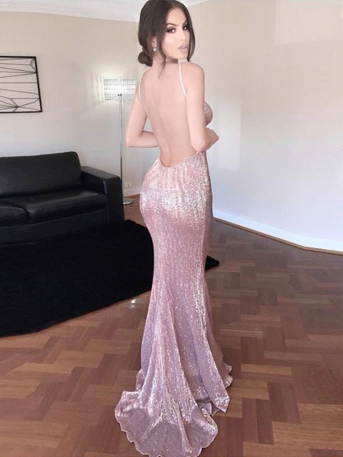 Backless Prom Dresses Short Train Spaghetti Straps Prom Dress/Evening Dress JKL169