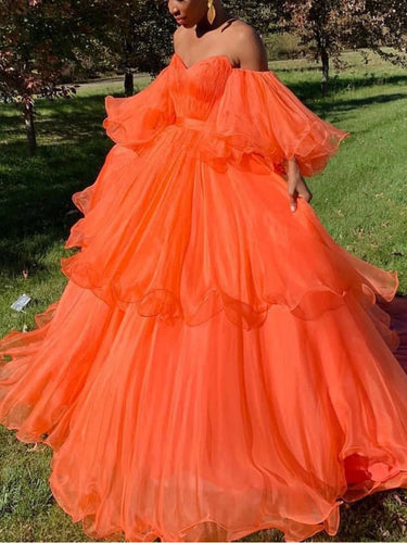 Long Sleeve Prom Dresses Ball Gown Sweetheart Orange Tulle Long Prom Dress JKL1700|Annapromdress