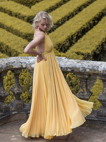 Simple Prom Dresses Yellow Aline Long Backless Prom Dress Chiffon Evening Dress JKL1701|Annapromdress