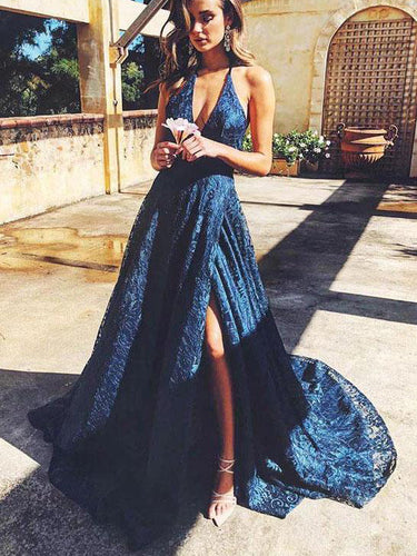Lace Prom Dresses with Slit Deep V neck Aline Long Backless Prom Dress JKL1702|Annapromdress