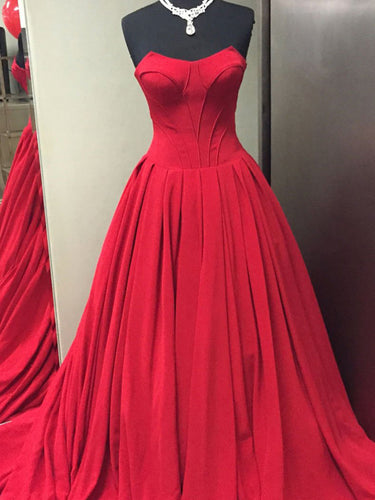 Red Prom Dresses Aline Floor-length Sweetheart Long Simple Prom Dress JKL1705|Annapromdress