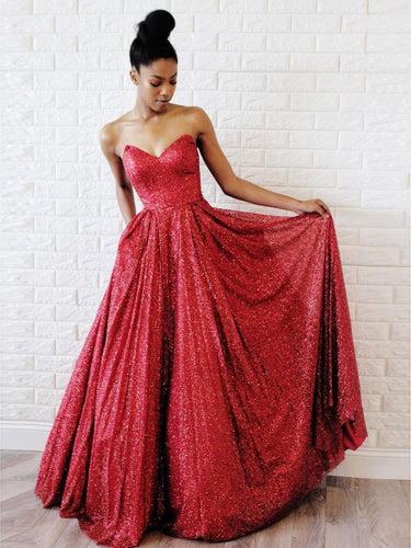 Red Prom Dresses Sweetheart Floor-length Aline Long Sparkly Prom Dress JKL1706|Annapromdress