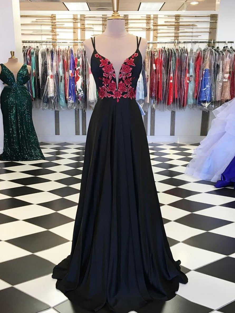 Black Prom Dresses with Spaghetti Straps V-neck Aline Long Open Back Prom Dress JKL1709|Annapromdress