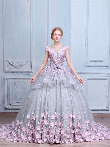 Luxury Prom Dresses Scoop Ball Gown Lace Hand-Made Flower Prom Dress/Evening Dress JKL170