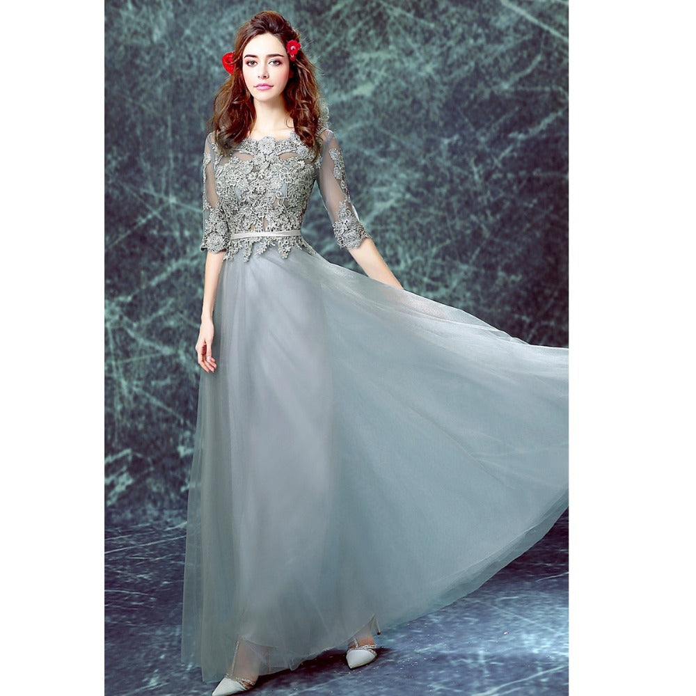 Chic Prom Dresses Scoop Floor-length Half Sleeve Long Prom Dress ...
