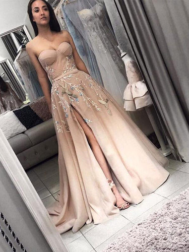 Long Prom Dresses Aline Sweep Train Sweetheart Embroidery Slit Prom Dress JKL1712|Annapromdress