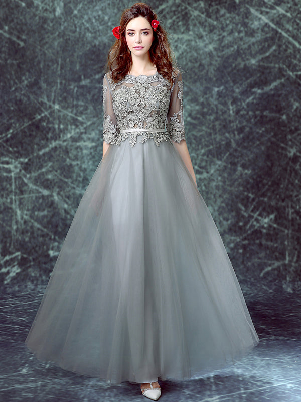 Chic Prom Dresses Scoop Floor-length Half Sleeve Long Lavender Prom Dress/Evening Dress JKL171
