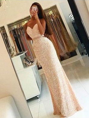 Long Prom Dresses Spaghetti Straps Sequins Sexy Prom Dress/Evening Dress JKL172