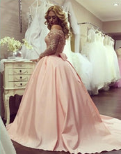 Ball Gown Prom Dresses Scoop Long Sleeve Short Train Satin Sexy Prom Dress/Evening Dress JKL174