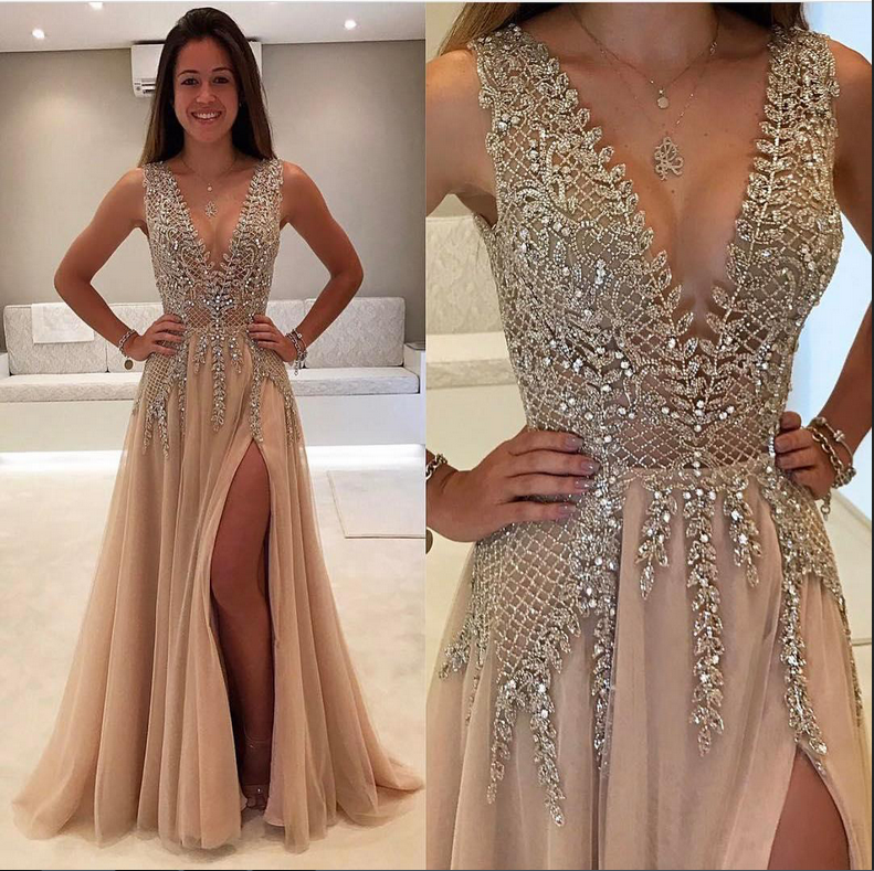 beautiful prom dresses v neck slit sexy rhinestone prom dress evening annapromdress. Black Bedroom Furniture Sets. Home Design Ideas