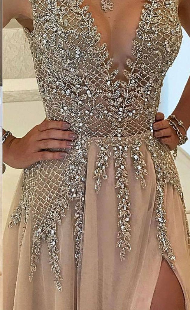 Beautiful Prom Dresses V Neck Slit Sexy Rhinestone Prom