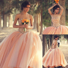 Ball Gown Prom Dresses Sweetheart Floor-length Tulle Rhinestone Prom Dress/Evening Dress JKL177