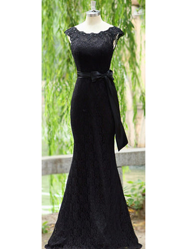 Black Prom Dress Scoop Floor-length Lace Long Bowknot Prom Dress/Evening Dress JKL178