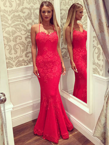Sexy Red Prom Dresses Criss-cross Straps Trumpet/Mermaid Long Prom Dress/Evening Dress JKL181