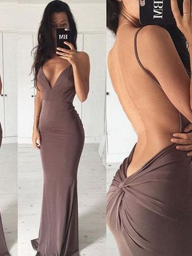 Chocolate Sexy Prom Dresses Spaghetti Straps Sheath/Column Long Prom Dress/Evening Dress JKL182