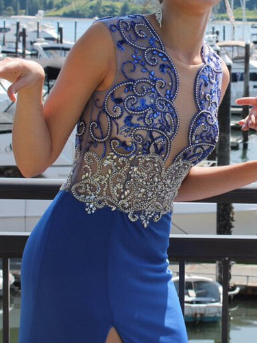 Royal Blue Prom Dresses Slit Sheath/Column Floor-length Sexy Prom Dress/Evening Dress JKL184
