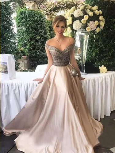 Long Prom Dresses Off-the-shoulder Floor-length Satin Sexy Prom Dress/Evening Dress JKL186|Annapromdress